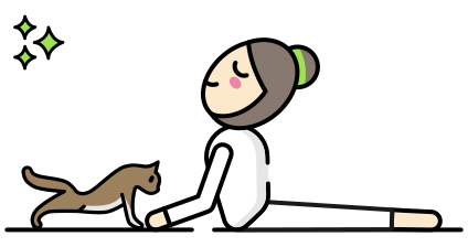 Yogadvisor - Character doing Yoga with his cat